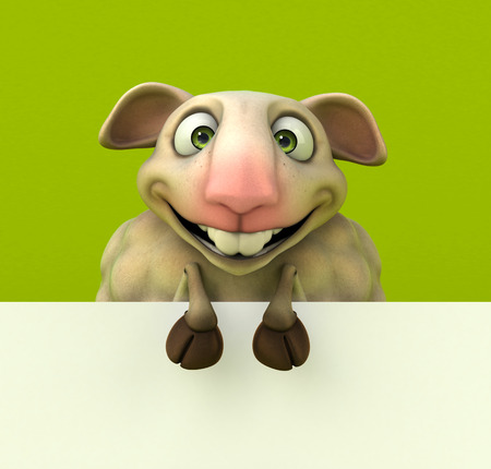 Cartoon sheep with green background