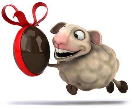 Cartoon sheep with chocolate Stock Photo