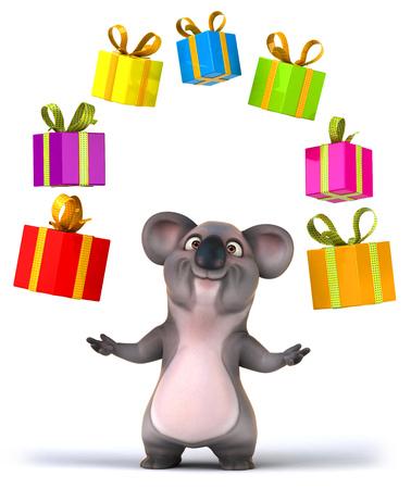 many babies: Cartoon koala with many gift boxes
