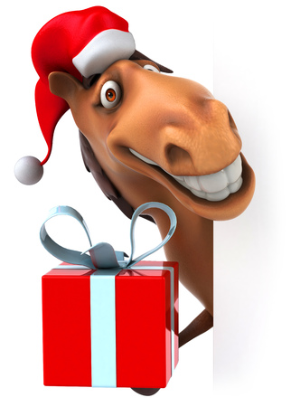 Head of cartoon horse with santa hat holding a gift