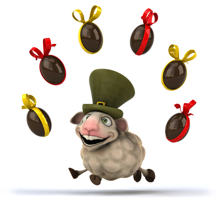 irish easter: Cartoon sheep with Easter chocolates Stock Photo
