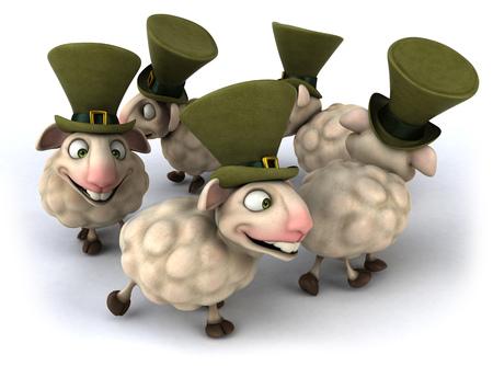 Cartoon sheeps walking in a circle Stock Photo