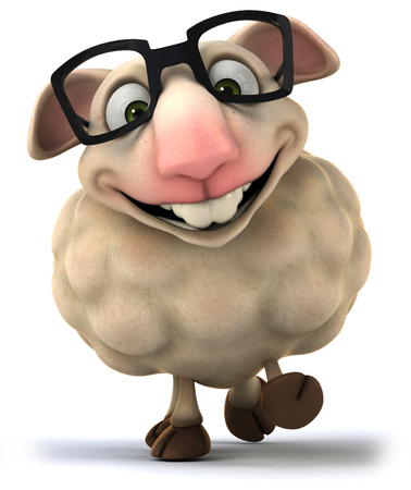 Cartoon sheep wearing spectacles Stock Photo