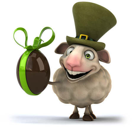 irish easter: Cartoon sheep with hat holding a chocolate egg Stock Photo