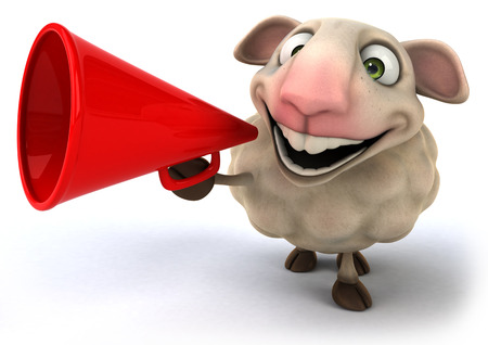 Cartoon sheep holding a megaphone Фото со стока