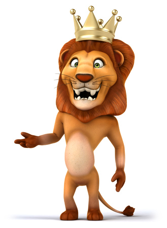 Cartoon lion king standing and posing Stock Photo