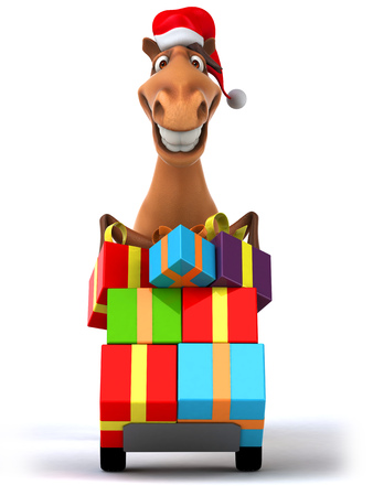Cartoon horse pushing trolley with gift boxes Stock Photo