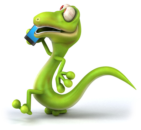 Cartoon lizard talking to a smartphone