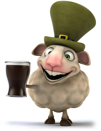 Cartoon sheep with leprechaun hat and beer Stock Photo