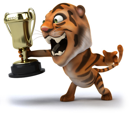 Cartoon tiger with trophy