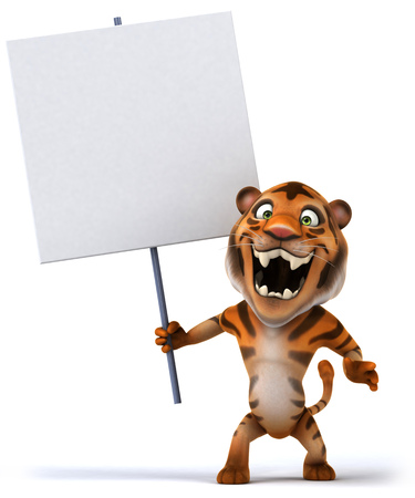 Tiger holding a white signboard