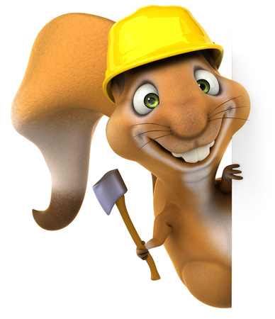 Cartoon squirrel with safety hat and hatchet