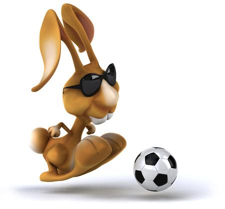 Rabbit wearing sunglasses playing football