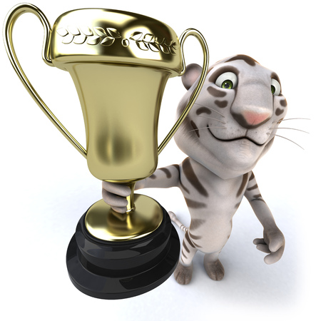 Tiger holding up trophy cup Stock Photo