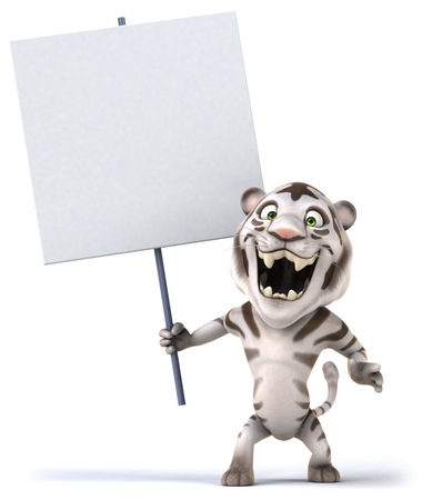 White tiger holding up a signboard