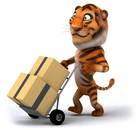 bengal: Tiger pushing trolley with boxes Stock Photo