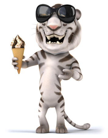 Tiger wearing sunglasses eating ice cream cone Stock Photo