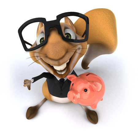 eyewear: Squirrel in business suit holding piggy bank Stock Photo