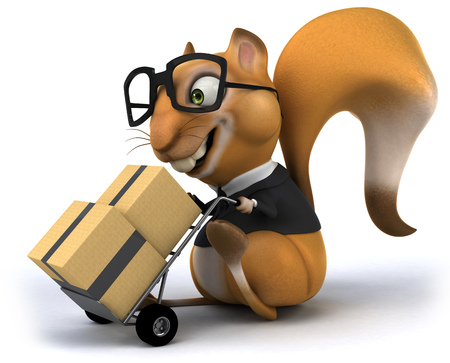 eyewear fashion: Squirrel in business suit pushing trolley with boxes