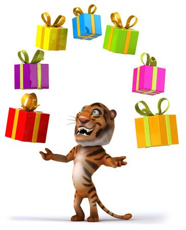 Tiger juggling presents