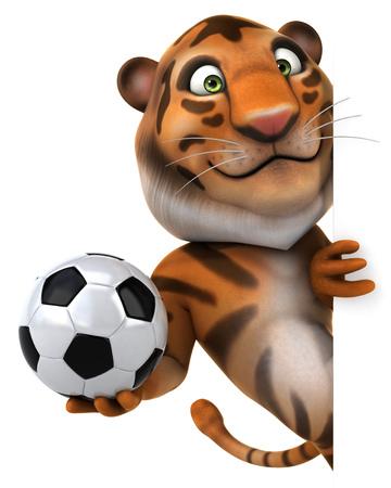 Tiger holding a football hiding behind wall