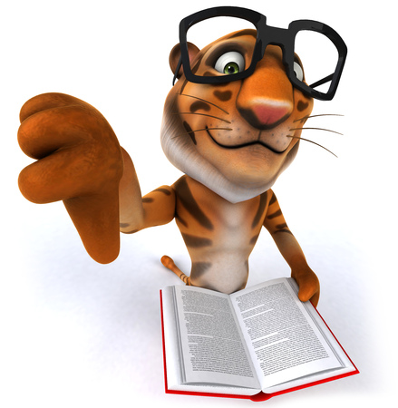 Tiger wearing glasses reading a book gesturing thumbs down Stock Photo