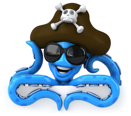ahoy: Blue octopus wearing sunglasses and pirate hat Stock Photo