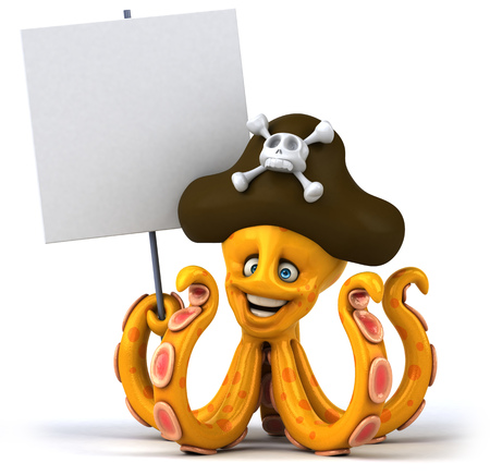 Octopus pirate with signboard