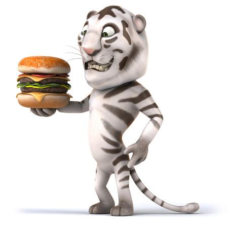 Tiger holding a delicious burger