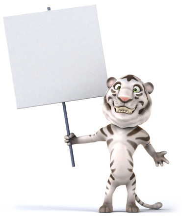 Tiger holding up a signboard