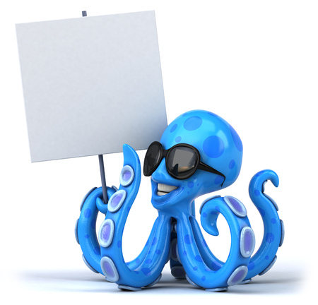 Octopus holding up signboard
