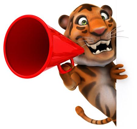 Tiger holding up a megaphone