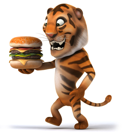 Tiger holding a delicious burger