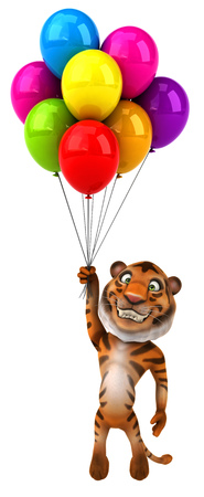 floating: Tiger holding a bunch of balloons
