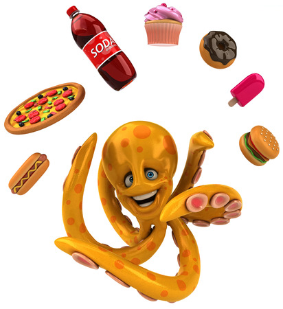 junkfood: Octopus with junkfood Stock Photo