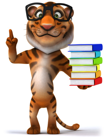bengal: Tiger wearing glasses holding stack of books