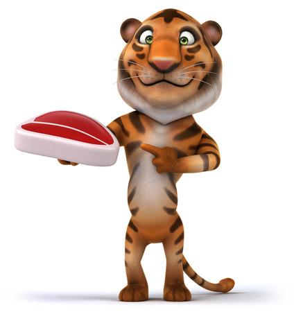 Tiger holding a raw steak