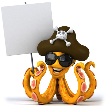 Octopus pirate holding signboard
