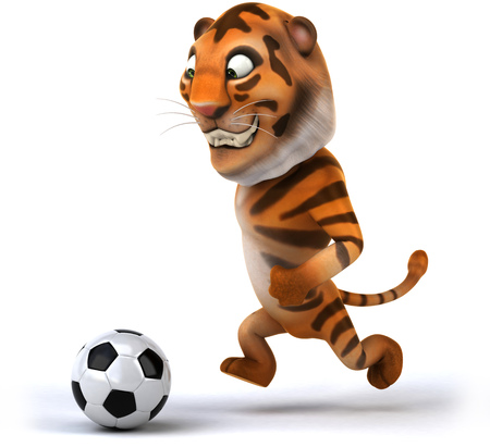 Tiger playing with football