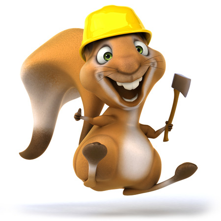 squirrel wearing hard hat holding a hatchet stock photo picture and