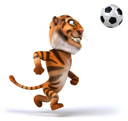 Tiger playing football Stock Photo