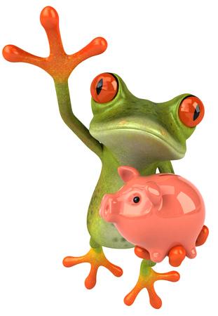 Cartoon frog with piggy bank