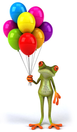 Cartoon frog with balloons Stock Photo