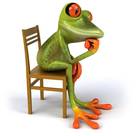 Cartoon frog sitting and thinking Stock Photo