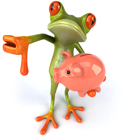 Cartoon frog with piggy bank with thumbs down Stock Photo