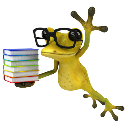 Cartoon frog with glasses holding books