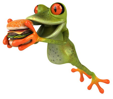 Cartoon frog with burger Stock Photo
