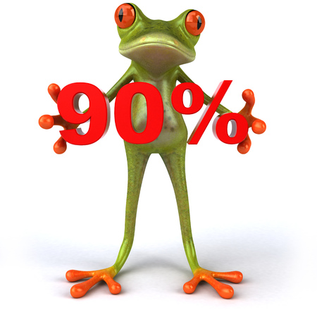 Cartoon frog with 90 percentage