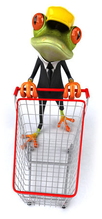 croaking: Cartoon frog in a suit with safety hat pushing cart