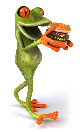 Cartoon frog with burger Stock Photo